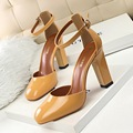 BIGTREE New Summer Pumps Sandal Thick Heel High Heels Shoes Patent Leather Square Toe Hollow Heeled