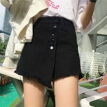 Pinggang Tinggi Wanita Denim Mini Rok A-line Ukuran 6XL Rumbai Jeans Rumbai Rok Wanita 2019 Musim Panas Tombol celana Pendek(China)