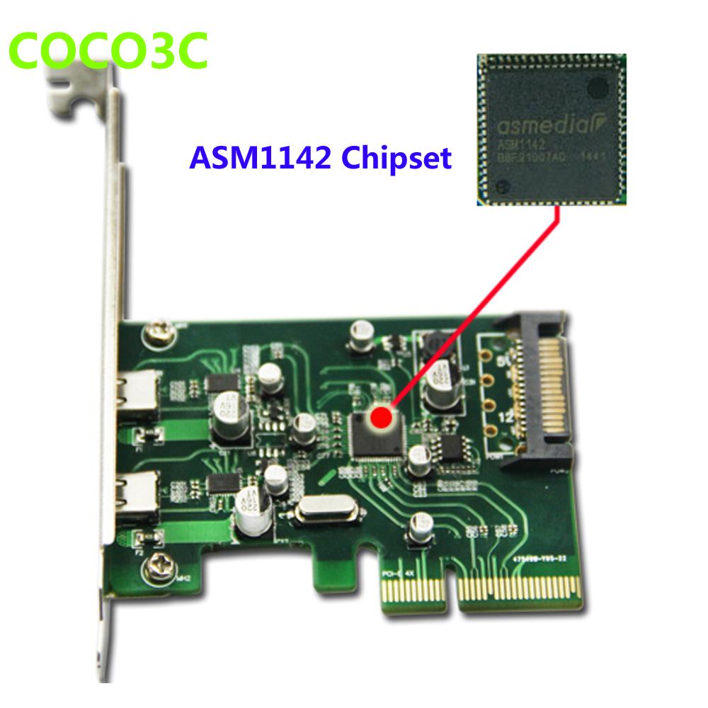 Desktop 2 ports USB 3.1 Type-C PCI express Card + PCIe low profile bracket pci-e 4x to usb3.1 Type C adapter 10Gbps USB-C(China (Mainland))