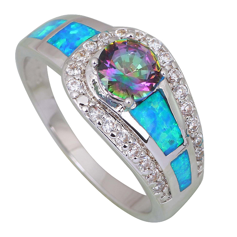 Best Fashion women' ring Pink Rainbow Mystic Topaz Opal 925 Sterling Silver Overlay jewelry ring size 5 6 6.5 7 7.5 8 9 R409(China (Mainland))