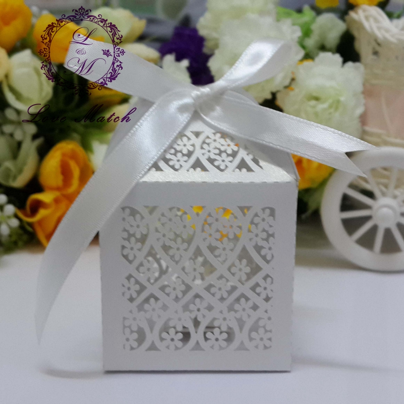 50pcs souvenirs baby shower birthday party decoration kids wedding favors supplies candy packaging chocolate box laser lace box(China (Mainland))