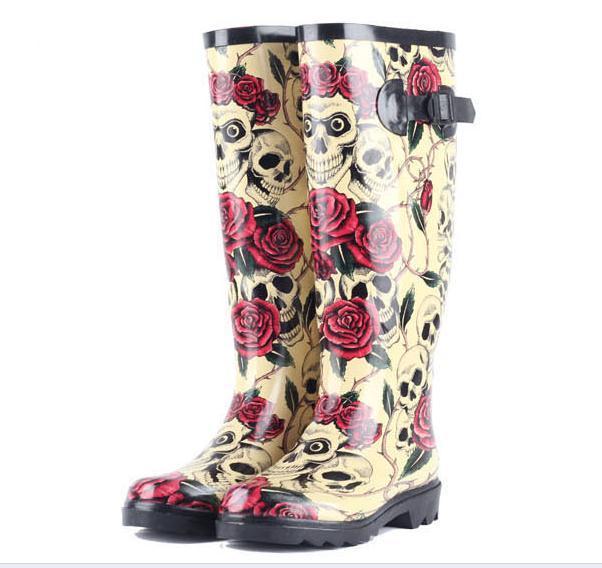 Новый 2016 Роуз Череп Женщины Дождя Сапоги Резиновые Резиновая Скелет глава Сексуальная Прохладный Sapatos Дождь Обувь Botas Femininas Плюс Размер 40