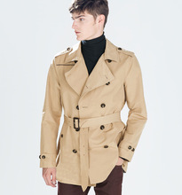 2015 Spring New Branded ZA Mans Fashion double-breasted coat solid color male Slim Men's Trench coat Belted hombre chaqueta (China (Mainland))