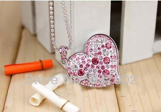 100% real capacity Beautiful gift Crystal Heart USB Flash Drive Disk Necklace8GB 16GB 32GB Optional S48 DD usb creativo(China (Mainland))
