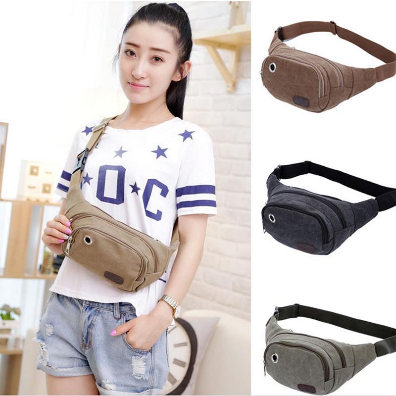 Fashion Unisex Canvas Waist Packs Belt Bag Portable Men Women Travelling Waist Bags Popular(China (Mainland))