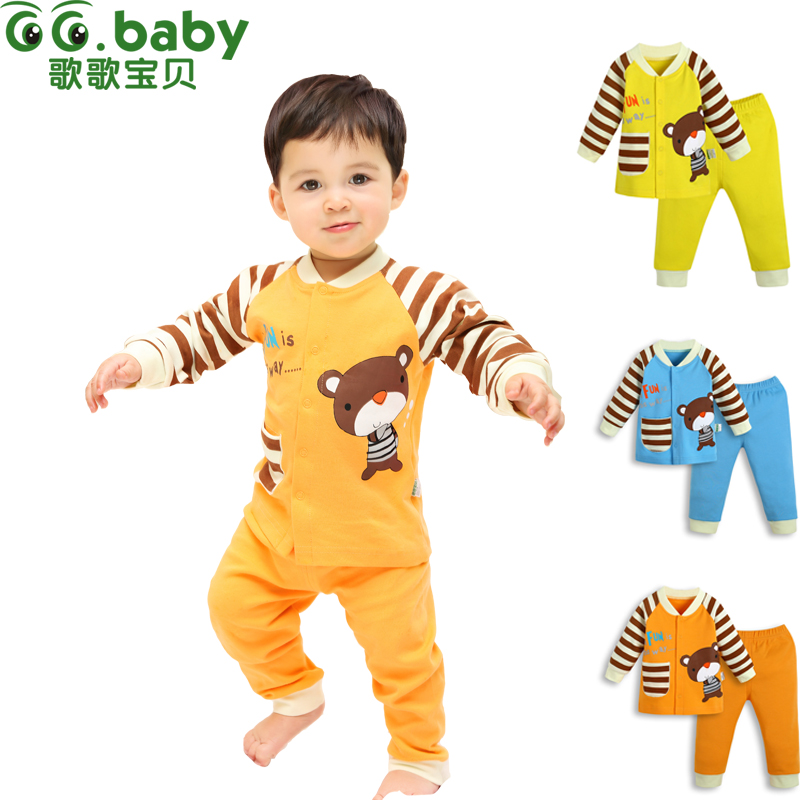 2016 2pcs Cotton Autumn Baby Clothing Set Fashion Bear Striped Newborn Boy Girl Clothes Suit Cheap Bebes Long Shirt Pants Infant(China (Mainland))