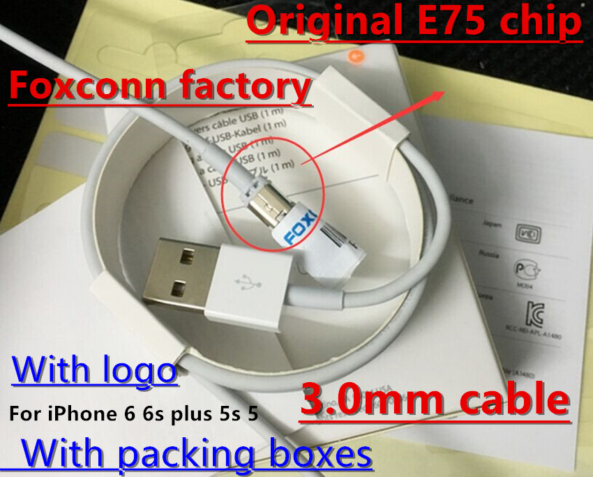 100Pcs/Lot,Genuine Original From Foxconn Factory E75/C48 Chip Data USB Cable For iPhone 5 5S 5C 6 6S Plus iPad ios9 With Retail(China (Mainland))