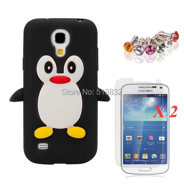 3 IN 1 Soft Silicone Penguin Case + 2 X Screen Protector + Dust Plug for Samsung S4 mini 9190 Free Shipping(China (Mainland))