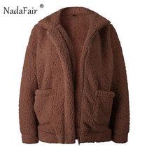 Nadafair plus size velo shearling faux fur coat jacket mulheres outono inverno plush grosso quente casaco de pelúcia fêmea sobretudo ocasional(China)