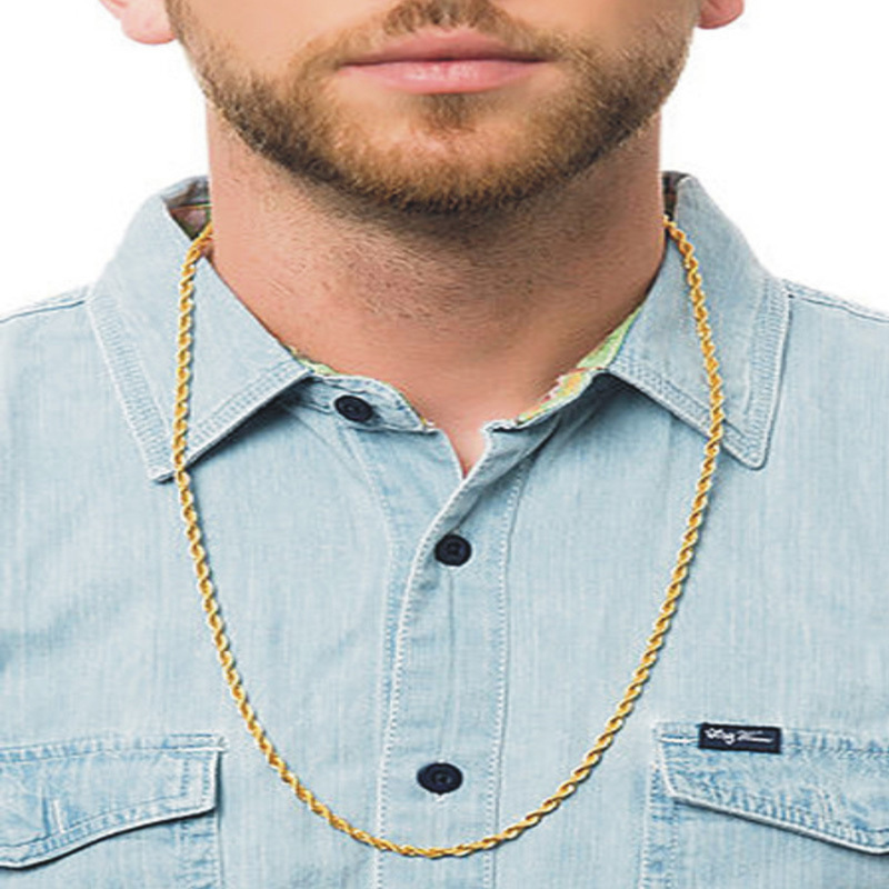 4mm 30 Inch Long Necklace Jewelry, New Gold Rope Chain For Men(China (Mainland))
