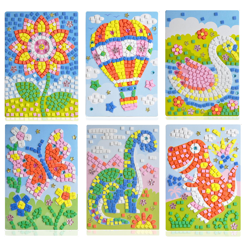 24 styles can be choose Lot 3D Mosaics Creative Sticker Game AnimalsTransport Arts Craft Puzzle for Kids EVA Educational Toy(China (Mainland))