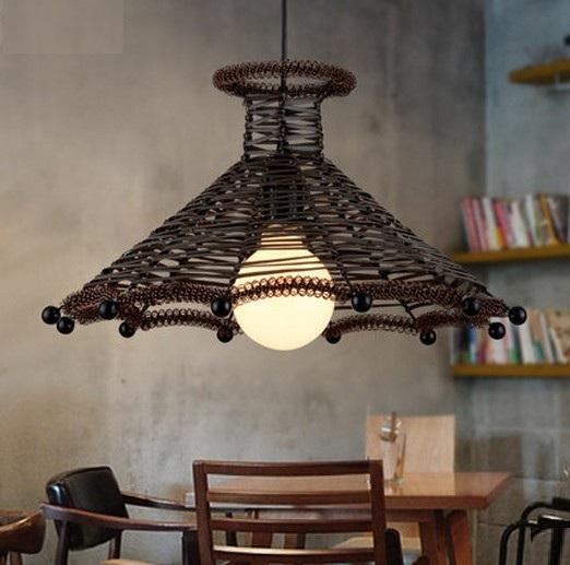 Village Loft Style rotin Droplight LED Vintage pendentif luminaires pour salle à manger lampe suspendue éclairage intérieur(China (Mainland))