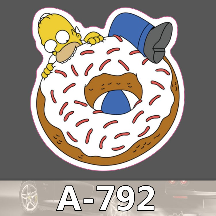 Bevle A-792 Doughnut Waterproof Cool DIY Stickers For Laptop Luggage Bike Refit Skateboard Car Graffiti Cartoon Sticker