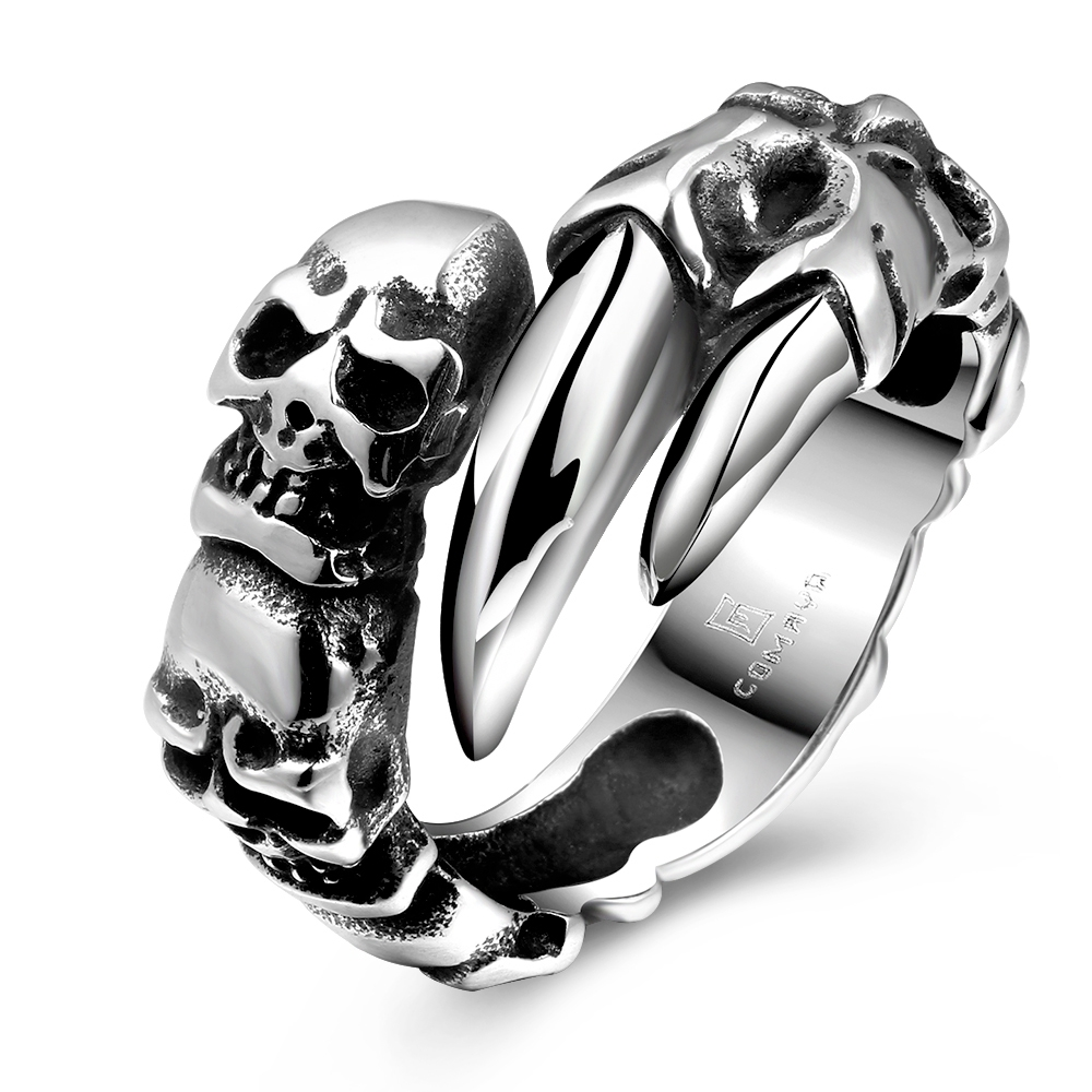 Hot sale 925 pure sterling silver jewelry The skeleton tooth ring nice for male friend fine popular party sales promotion YR178(China (Mainland))