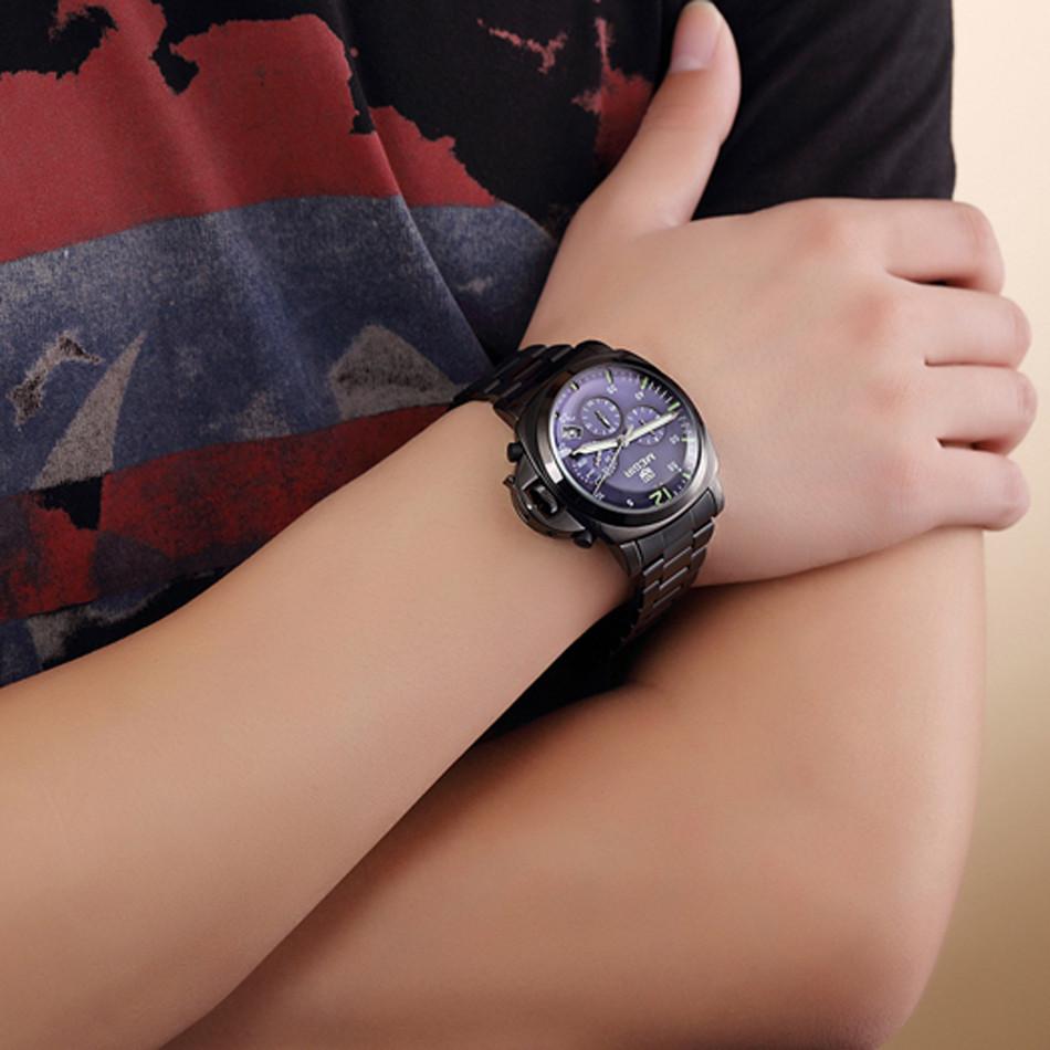 MEGIR Хронограф Многофункциональный Военный Мужчины Показывает Кожа Роскошные Часы Водонепроницаемые Кварцевые Часы Relogio Masculino