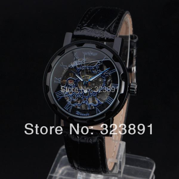 Гаджет  promotion special design winner skeleton leather watches men stainless steel hand wind mechanical wrist watch  None Часы