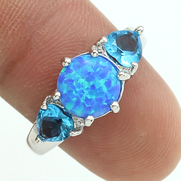 Synthetic Blue Fire Opal Blue Topaz Silver Plated Women Ring Size 5.5 6.5 7.5 8.5 92BD Free Gift Box(China (Mainland))