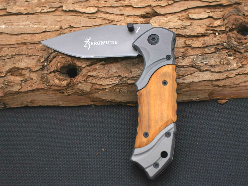 Buy BROWNING Folding Knife Survival Knifes 440C Steel Blade Wood Handle Pocket Hunting Tactical Knives Camping Outdoor EDC Tools X47 cheap