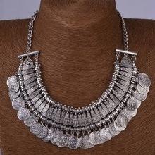 2015 été Style argent plaqué collier déclaration de bohême alliage de métal pendentif pompon pièces turques collier pour femmes(China (Mainland))