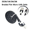 20CM 1M 2M 3M Long Strong Fabric Braided Flat Noodle V8 Micro USB Sync Data Charger