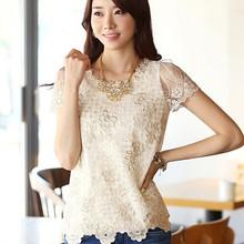 New 2015 Summer Style Female Shirt Chiffon Blouses Women Clothing Plus Size Lace Tops Vestidos Blusas De Renda Roupas Femininas(China (Mainland))