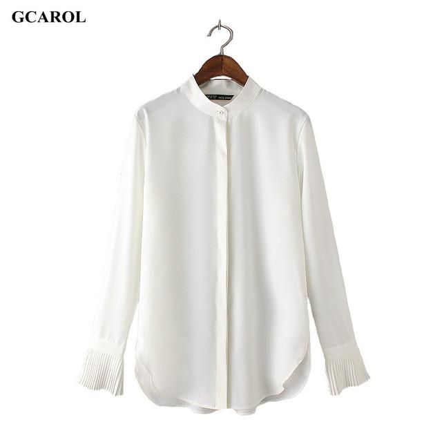 Женщины тенденция пр элегантный рубашка асимметричная длина оборками рукав дизайн ...