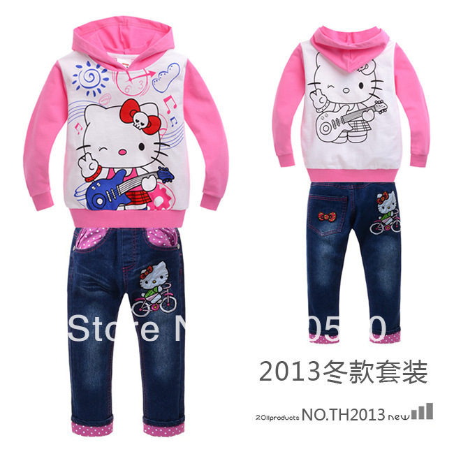 Fashion childrens cotton jacket pants autumn nice girls kitty casual hooded coat+jeans 2pcs set kids spring girls clothing suot<br><br>Aliexpress