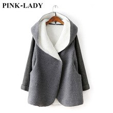 Autumn Winter Clothing Women Knitted Sleeve Lamb Wool Hooded Jacket Coat Female Thick Warm Long Fur Outerwear