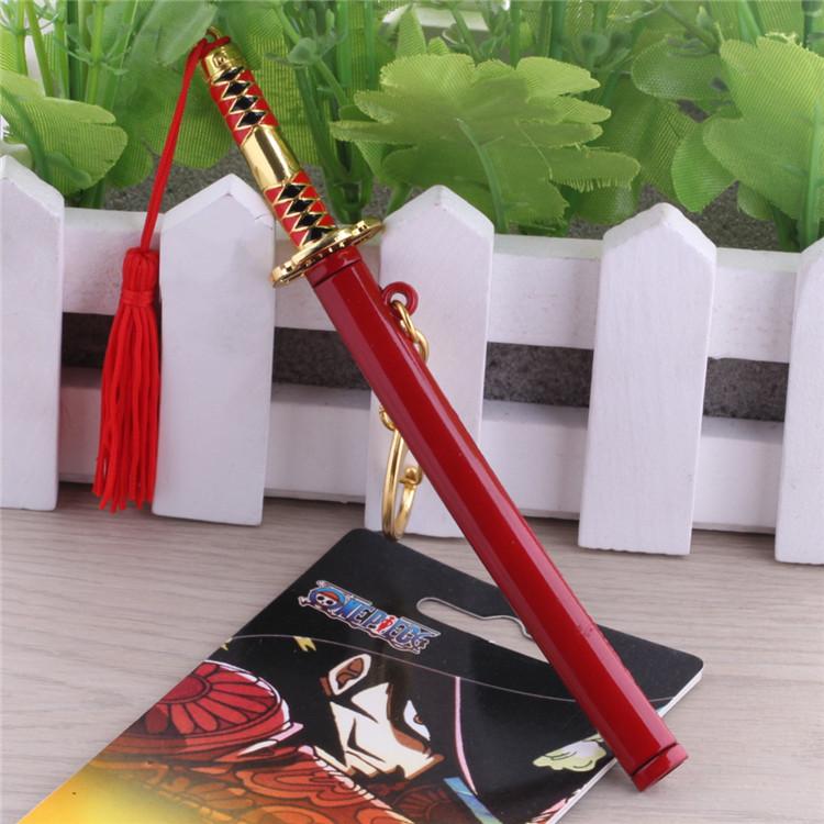 Japanese Anime One Piece Roronoa Zoro Metal Katana Sabre Red Knife Weapon Figure Pendant Collectibles<br><br>Aliexpress