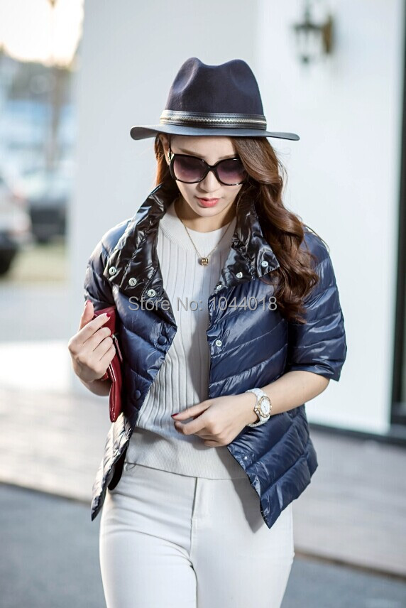 2015 hot sell winter thin half sleeve fashion design three quarter sleeve coat down outerwear solid