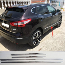 ACCESSORIES FIT FOR 2014 2015 2016 NISSAN QASHQAI CHROME ABS DOOR SIDE LINE GARNISH BODY MOLDING COVER PROTECTOR TRIM(China (Mainland))