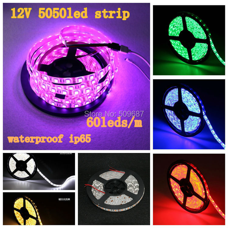5m IP65 waterproof 12V SMD 5050 White/Cold White/Warm White/Red/Blue/Green/RGB 60LED/ m Flexible RGB LED Strip 5050 Waterproof(China (Mainland))