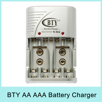 BTY Smart AA AAA 9V Ni-MH Ni-Cd Rechargeable Battery Charger BTY N-802 EU plug for Russia Free Shipping