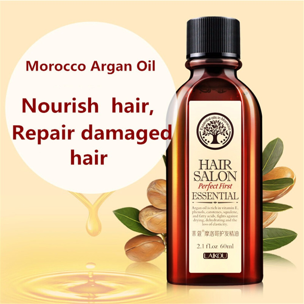 Hot LAIKOU 100% PURE 60ml Morocco argan oil glycerol Nut oil Hairdressing hair care essential moroccan oil ZYH078