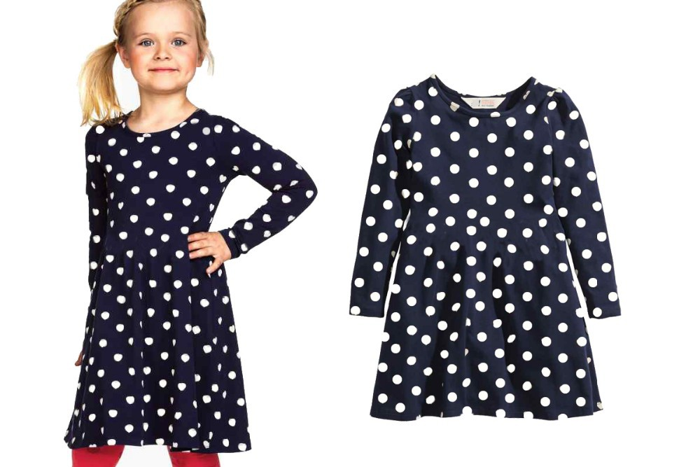 Girl dress spring autumn girl long sleeve cotton dot heart dress 2-12 age girl clothes chilren pricess clothes(China (Mainland))