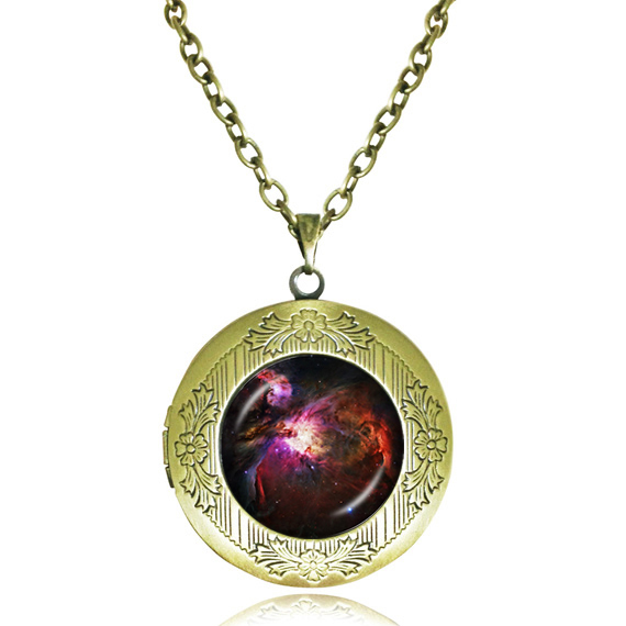 red black outer space galaxy pendant necklace nebula jewelry glass art photo locket necklaces men channel necklace jewelry(China (Mainland))