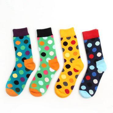 5 pairs cartoon men's man winter autumn termal colorful hip hop happy sport coolmax dot pattern cotton socks sokken sox skarpety(China (Mainland))