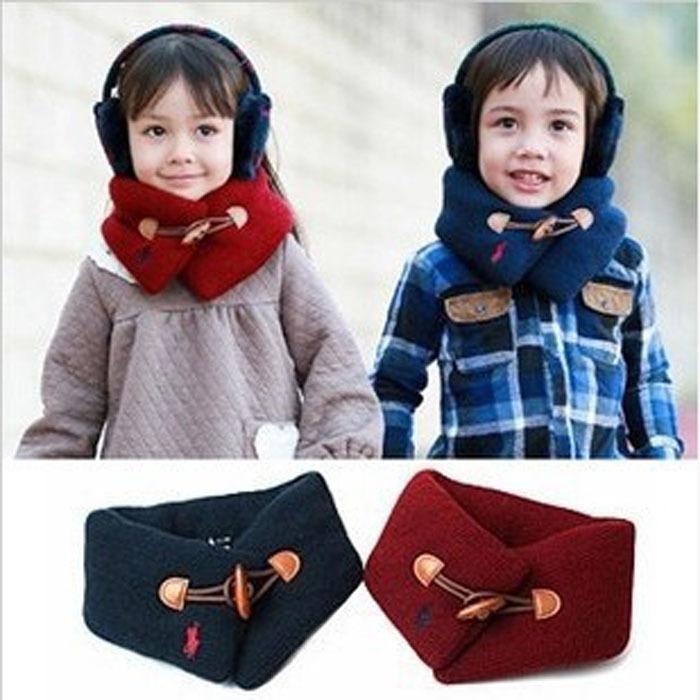 Baby Neckerchief Scraf Wool Buckle Button Children Kids Bandelet Winter Neck Scarves Wrap Stylish Clothes Warmers Collar WJ3003(China (Mainland))