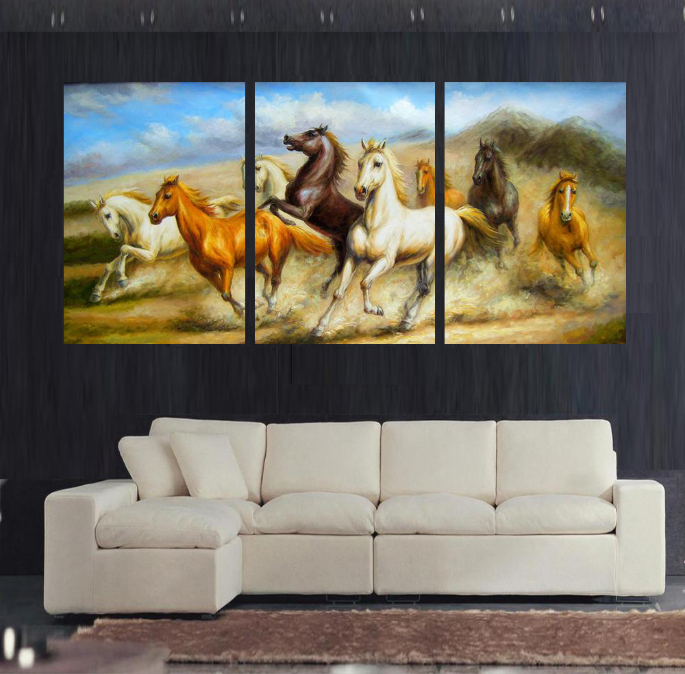 Free shipping 3 panels Canvas painting printed running horses on canvas wall art picture prints home decor oil painting No Frame(China (Mainland))