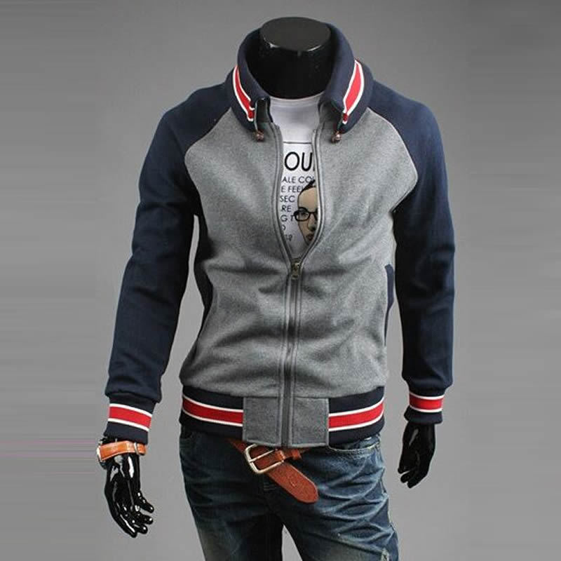 Ebay men's clothing navy blue baseball uniform spring male sweatshirt coat(China (Mainland))