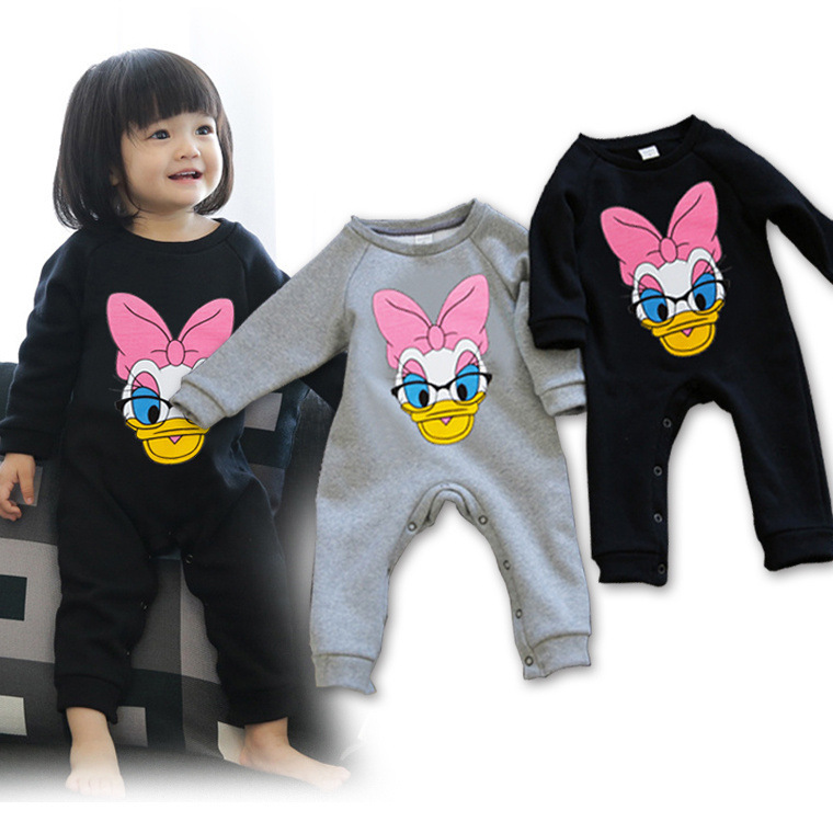 Spring Winter Baby Girl Jumpsuit Infant/Toddler/Kid Romper Duck/Black/Gray/Velveteen Climb Clothing Free Ship Wholesale(China (Mainland))