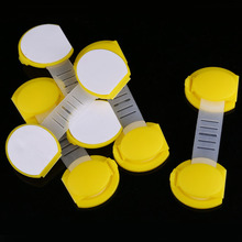 5pcs set baby Child Kids Drawer Cabinet Lock Short Style Safety Lock Yellow 2015 Clearance Sale
