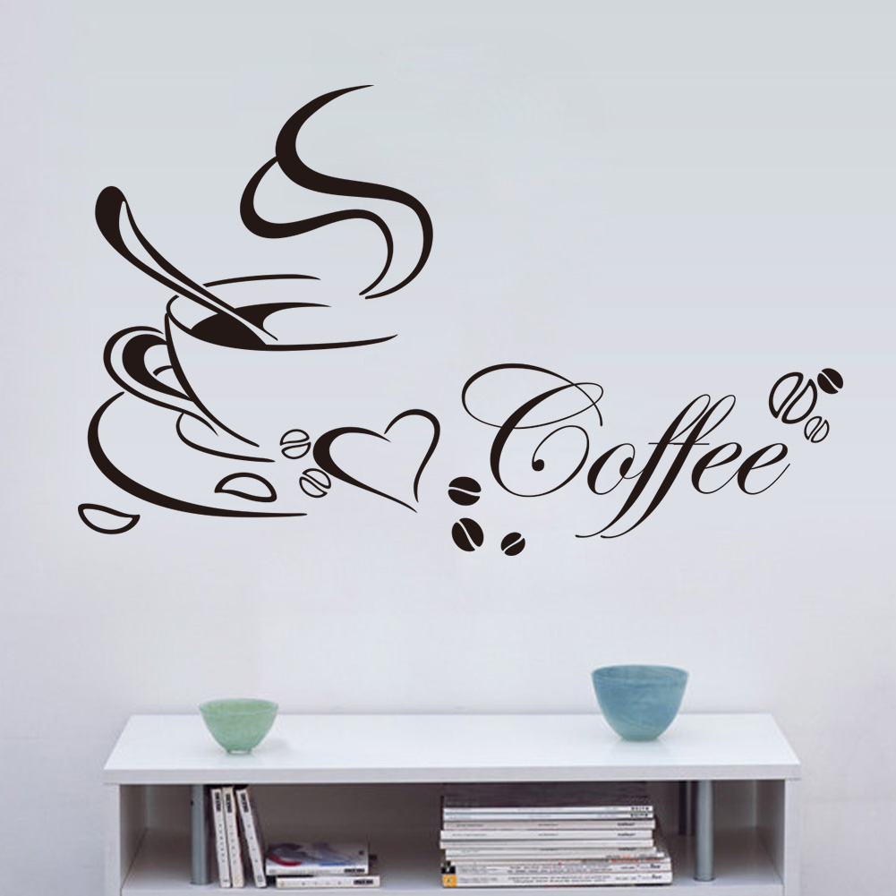 love coffee stickers shop kitchen decorations 8347. diy home decal vinyl art room mural poster removable adesivos de paredes 4.0