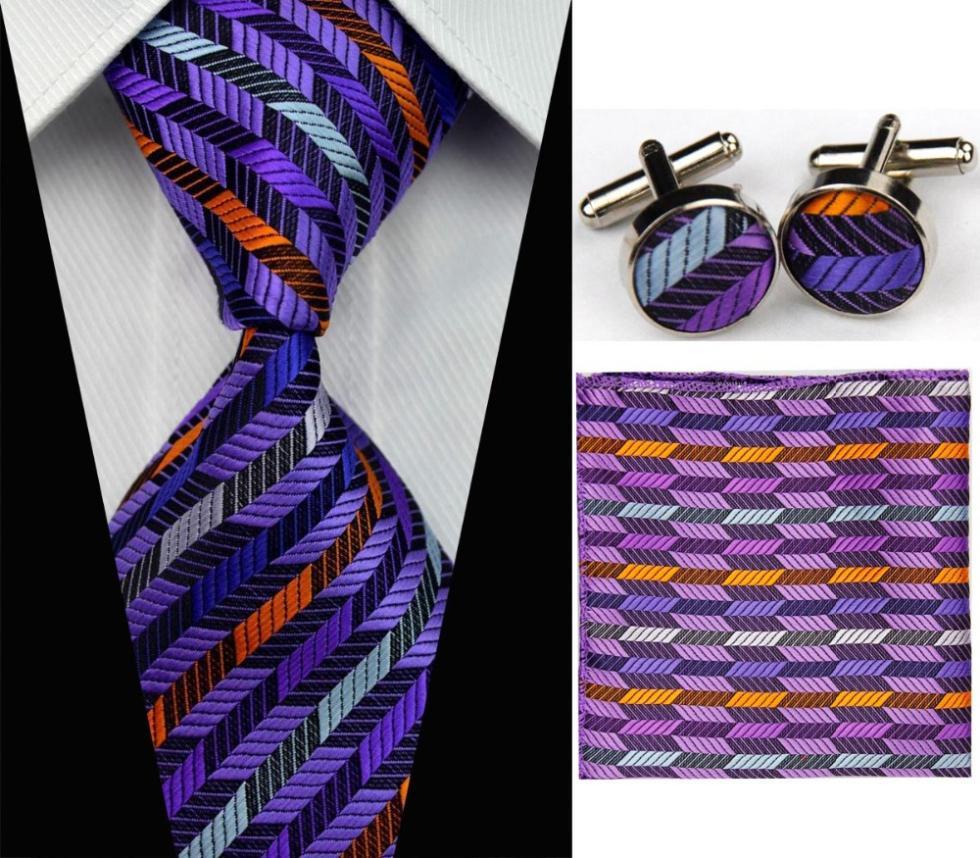 SNT0069 Men s Fashional Wedding Groom Red Striped Tie Hanky Cufflinks Necktie Set Silk necktie Free