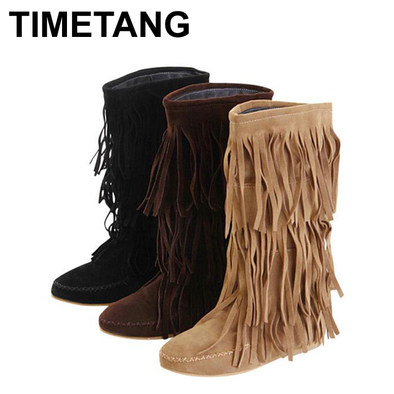 Hot 3 Layers Fringe Boots 2016 Low Heel Tassel Moccasin Flat Mid-Calf Women Boots Plus Size 35~43 Drop Ship WBS16(China (Mainland))