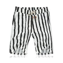 2016 Mens Board Shorts Men Boardshorts Striped Beach Shorts Homme bermuda masculina Black and White Striped Plus Size(China (Mainland))