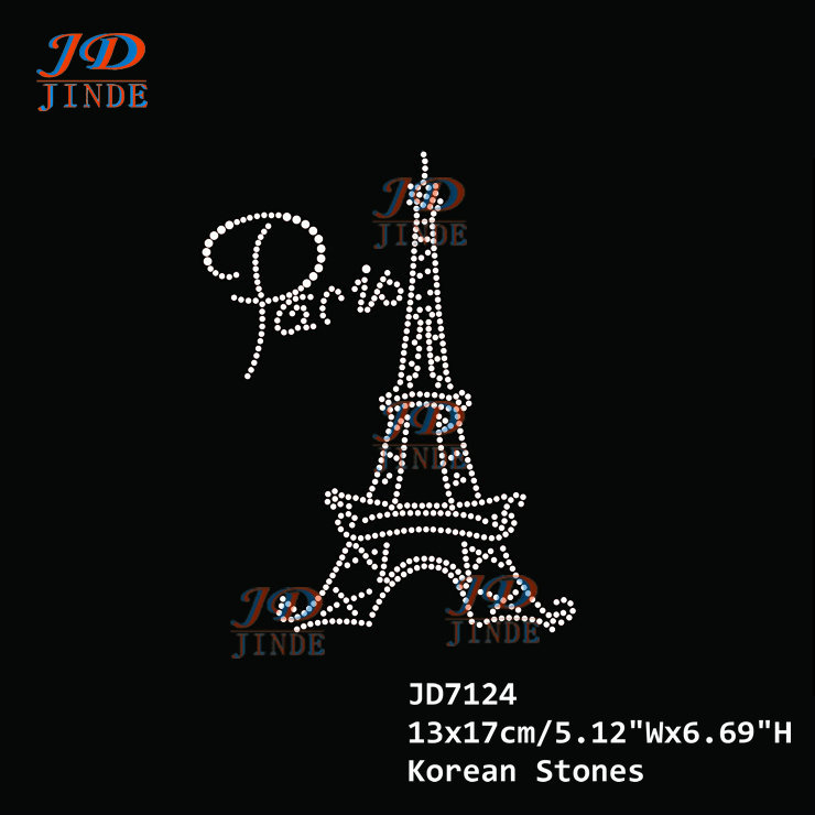 30pcs/lot Hotfix Rhinestone Iron On Heat Transfers Motif Sticker Paris Eiffel Tower Pattern Design Applique(China (Mainland))