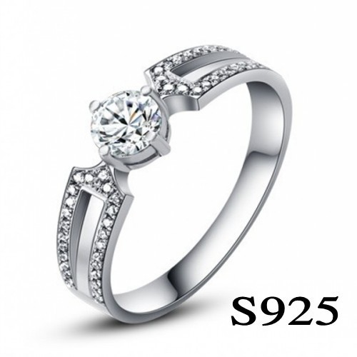 Classic Gift Fashion Style Genuine 925 Sterling Silver Inlaid AAA Grade CZ Diamond Ring[Attached Appraisal Certificate](China (Mainland))