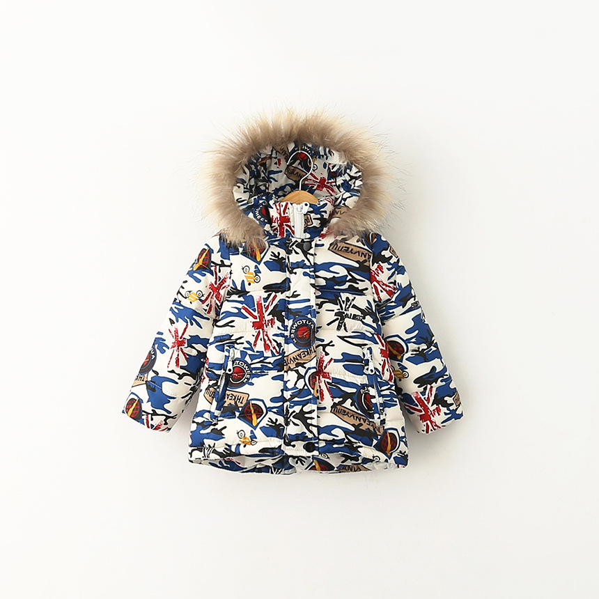 Boys winter jackets Children thick hooded printed coat Kids fashion cartoon big fur collar outerwear child clothes for 2-8 years<br><br>Aliexpress