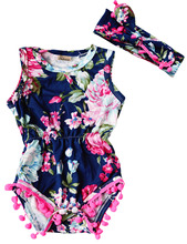 Buy New Baby Girl Pretty summer Romper Newborn Infant Baby Girls Floral Pom Pom Romper Jumpsuit Sunsuit Outfits Clothes Set 6-24M for $3.31 in AliExpress store